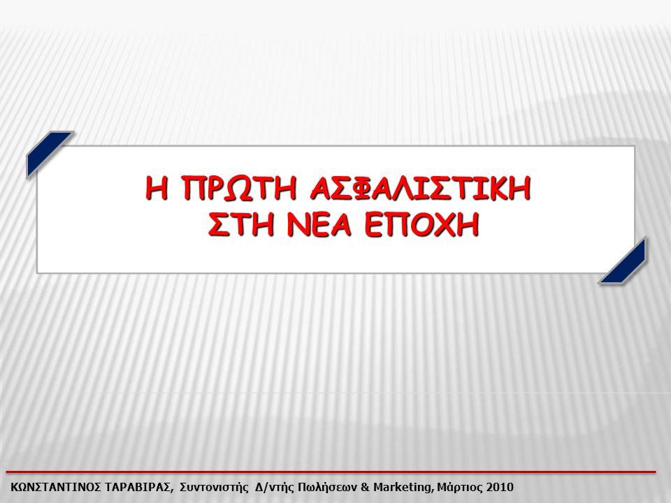 ΚΩΝΣΤΑΝΤΙΝΟΣ ΤΑΡΑΒΙΡΑΣ, Συντονιστής Δ/ντής Πωλήσεων & Marketing, Μάρτιος 2010 Ενώ η Αγορά αντιμετωπίζει προβλήματα… + 4,4% - 1,0 %