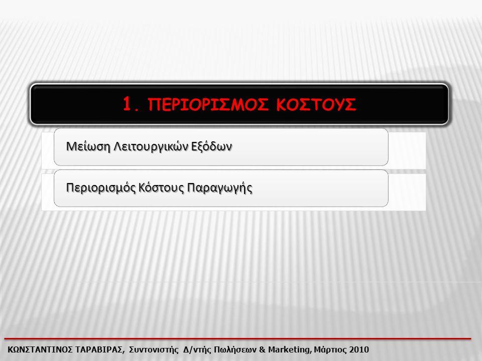 1. ΠΕΡΙΟΡΙΣΜΟΣ ΚΟΣΤΟΥΣ ΚΩΝΣΤΑΝΤΙΝΟΣ ΤΑΡΑΒΙΡΑΣ, Συντονιστής Δ/ντής Πωλήσεων & Marketing, Μάρτιος 2010 Μείωση Λειτουργικών Εξόδων Περιορισμός Κόστους Πα