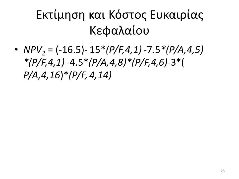 Εκτίμηση και Κόστος Ευκαιρίας Κεφαλαίου • ΝΡV 2 = (-16.5)- 15*(Ρ/F,4,1) -7.5*(Ρ/Α,4,5) *(Ρ/F,4,1) -4.5*(Ρ/Α,4,8)*(Ρ/F,4,6)-3*( Ρ/Α,4,16)*(Ρ/F, 4,14) 2
