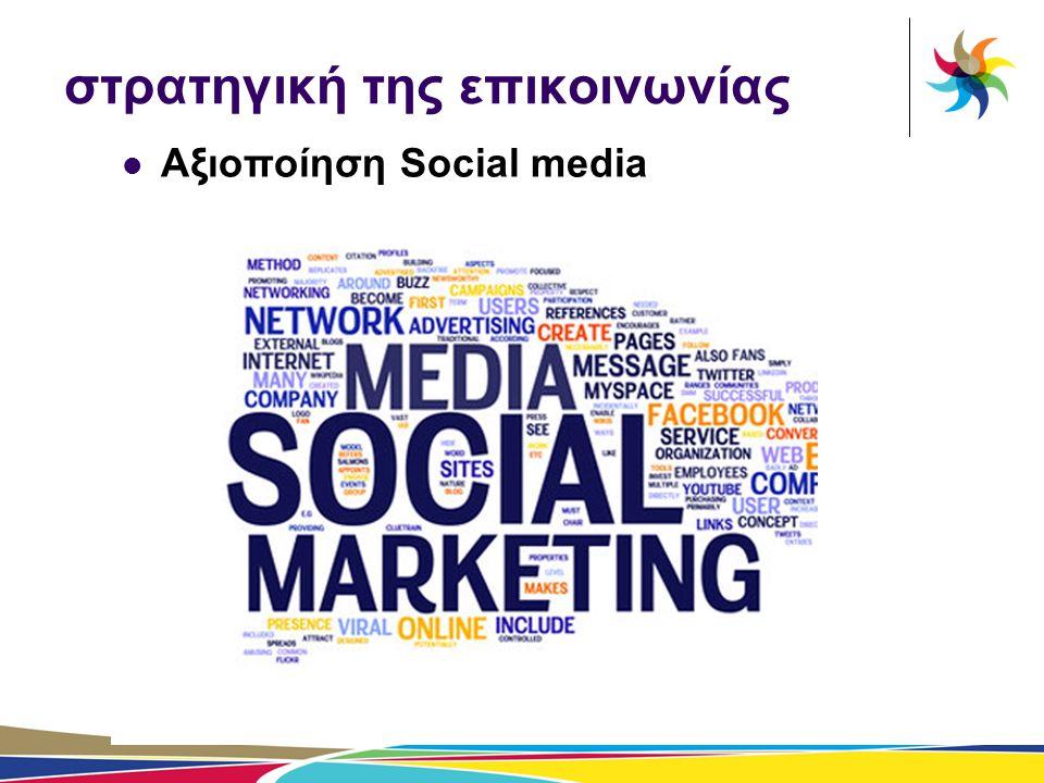 στρατηγική της επικοινωνίας  Αξιοποίηση Social media