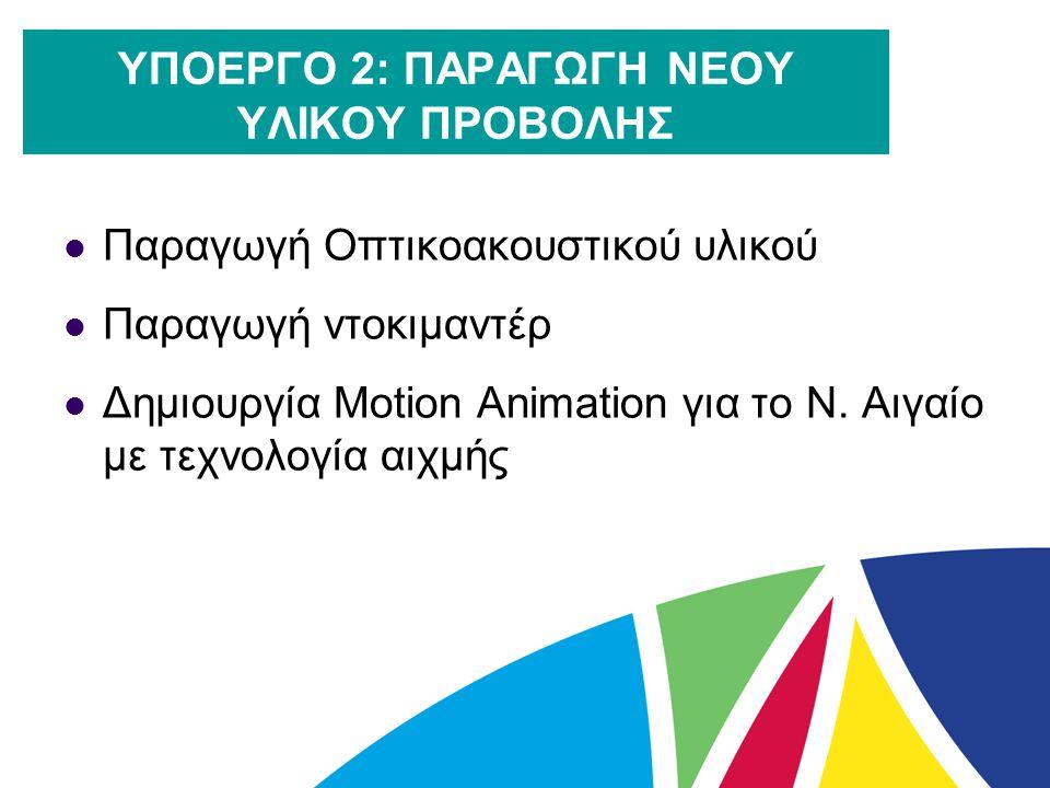 ΥΠΟΕΡΓΟ 2: ΠΑΡΑΓΩΓΗ ΝΕΟΥ ΥΛΙΚΟΥ ΠΡΟΒΟΛΗΣ  Παραγωγή Οπτικοακουστικού υλικού  Παραγωγή ντοκιμαντέρ  Δημιουργία Motion Animation για το Ν. Αιγαίο με τ
