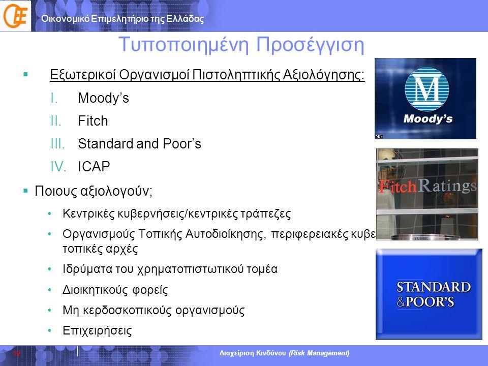 Οικονομικό Επιμελητήριο της Ελλάδας Διαχείριση Κινδύνου (Risk Management) Τυποποιημένη Προσέγγιση  Εξωτερικοί Οργανισμοί Πιστοληπτικής Αξιολόγησης: I