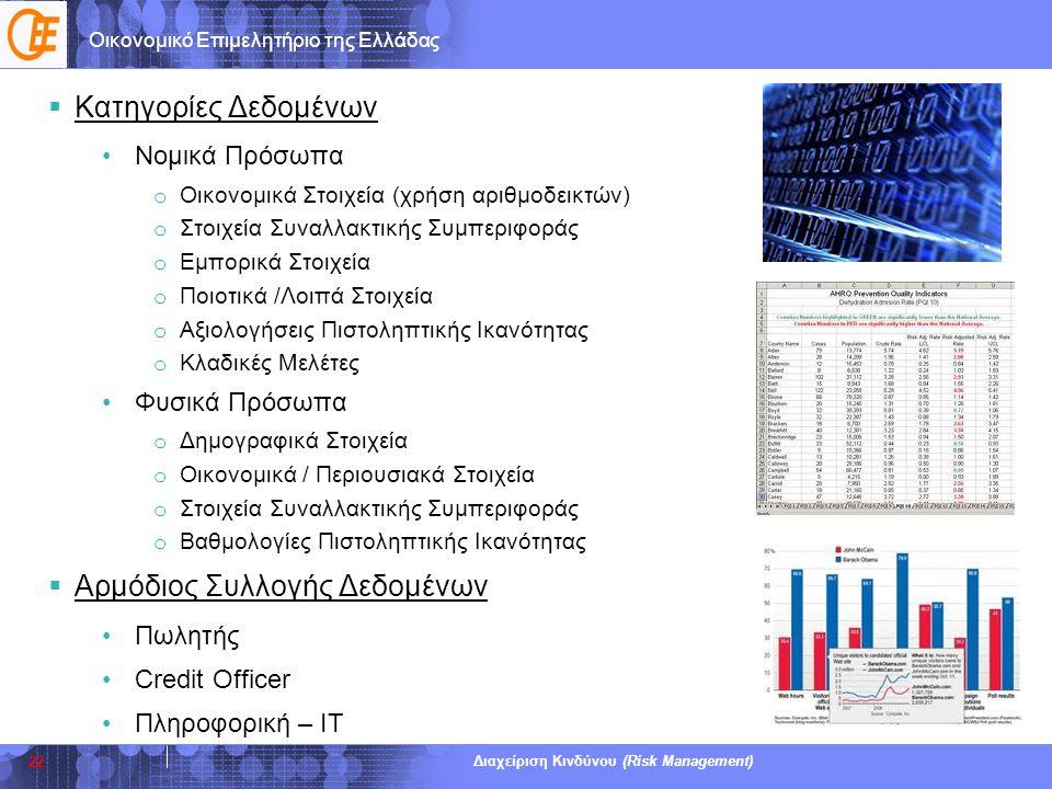 Οικονομικό Επιμελητήριο της Ελλάδας Διαχείριση Κινδύνου (Risk Management)  Κατηγορίες Δεδομένων •Νομικά Πρόσωπα o Οικονομικά Στοιχεία (χρήση αριθμοδε