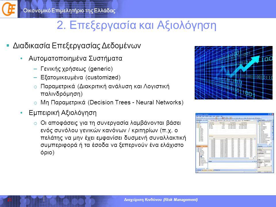 Οικονομικό Επιμελητήριο της Ελλάδας Διαχείριση Κινδύνου (Risk Management) 2. Επεξεργασία και Αξιολόγηση  Διαδικασία Επεξεργασίας Δεδομένων •Αυτοματοπ