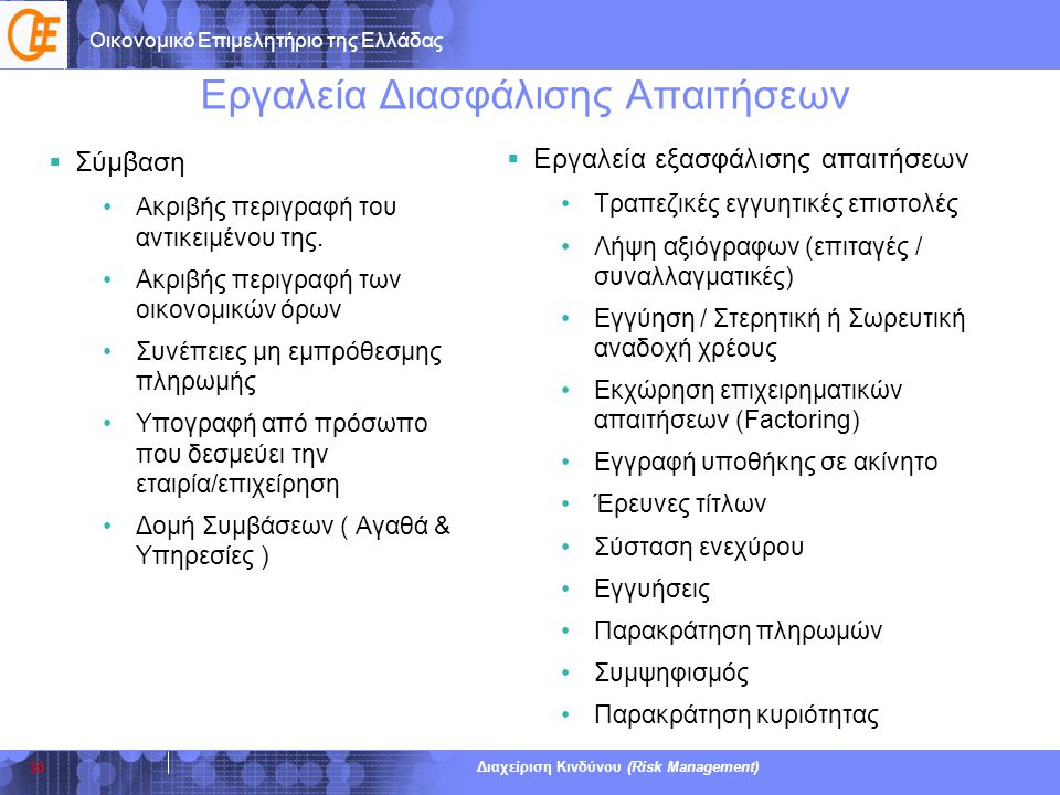 Οικονομικό Επιμελητήριο της Ελλάδας Διαχείριση Κινδύνου (Risk Management) Εργαλεία Διασφάλισης Απαιτήσεων  Σύμβαση •Ακριβής περιγραφή του αντικειμένο