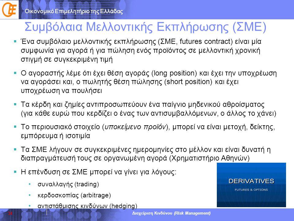 Οικονομικό Επιμελητήριο της Ελλάδας Διαχείριση Κινδύνου (Risk Management) Συμβόλαια Μελλοντικής Εκπλήρωσης (ΣΜΕ)  Ένα συμβόλαιο μελλοντικής εκπλήρωση