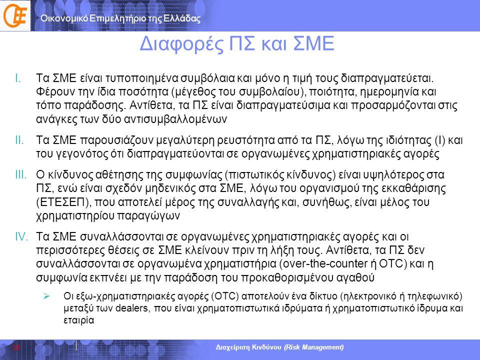 Οικονομικό Επιμελητήριο της Ελλάδας Διαχείριση Κινδύνου (Risk Management) Διαφορές ΠΣ και ΣΜΕ I.Τα ΣΜΕ είναι τυποποιημένα συμβόλαια και μόνο η τιμή το