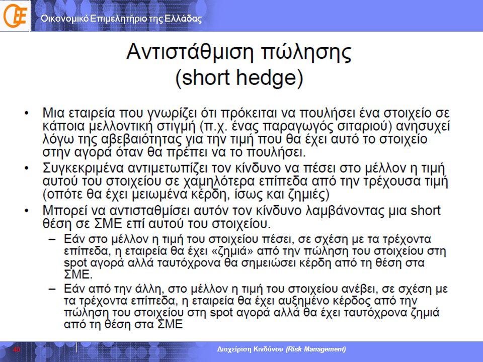 Οικονομικό Επιμελητήριο της Ελλάδας Διαχείριση Κινδύνου (Risk Management) 40