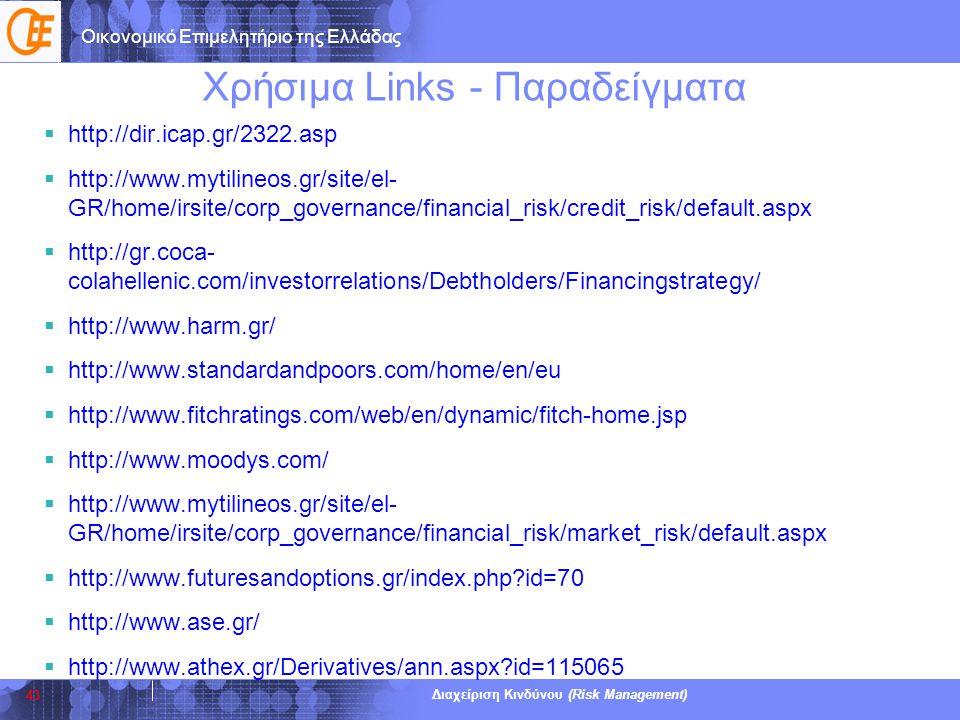 Οικονομικό Επιμελητήριο της Ελλάδας Διαχείριση Κινδύνου (Risk Management) Χρήσιμα Links - Παραδείγματα  http://dir.icap.gr/2322.asp  http://www.myti