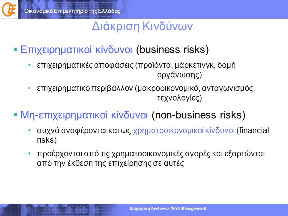 Οικονομικό Επιμελητήριο της Ελλάδας Διαχείριση Κινδύνου (Risk Management) Ορισμός Πιστωτικού Κινδύνου (γενικά)  Πιστωτικός κίνδυνος είναι ο κίνδυνος απώλειας μιας χρηματικής αμοιβής, που οφείλεται στην αδυναμία ενός δανειστή να αποπληρώσει ένα δάνειο ή να εκπληρώσει μία συμβατική υποχρέωσή του  Οι απώλειες των επενδυτών περιλαμβάνουν: •χαμένα κεφάλαια •μη εισπραχθέντες τόκους •μειωμένες ταμειακές ροές •αυξημένα εισπρακτικά κόστη  Παραδείγματα: •Ένας καταναλωτής δεν αποπληρώνει ένα στεγαστικό δάνειο ή την πιστωτική του κάρτα •Μία επιχείρηση δεν αναγνωρίζει και δεν πληρώνει ένα τιμολόγιο •Μία επιχείρηση δεν καταβάλλει τους μισθούς στους υπαλλήλους της •Η κυβέρνηση δεν πληρώνει τοκομερίδια ή τα ομόλογα της •Μία ασφαλιστική εταιρία δεν καταβάλλει οφειλόμενες αποζημιώσεις 7