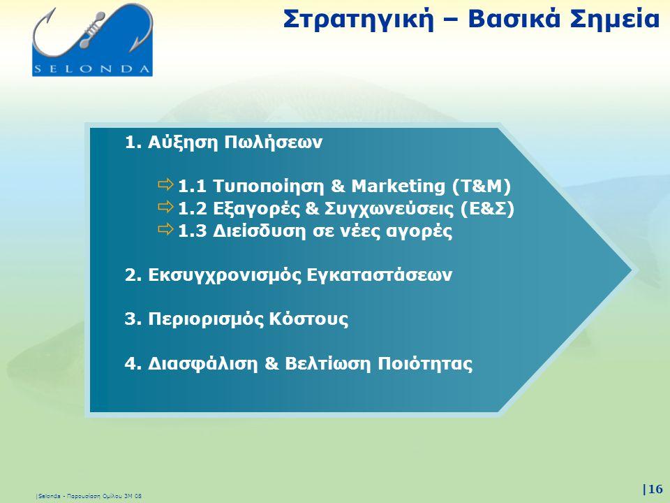 |Selonda - Παρουσίαση Ομίλου 3Μ 08 |16 1. Αύξηση Πωλήσεων  1.1 Τυποποίηση & Marketing (Τ&M)  1.2 Εξαγορές & Συγχωνεύσεις (Ε&Σ)  1.3 Διείσδυση σε νέ