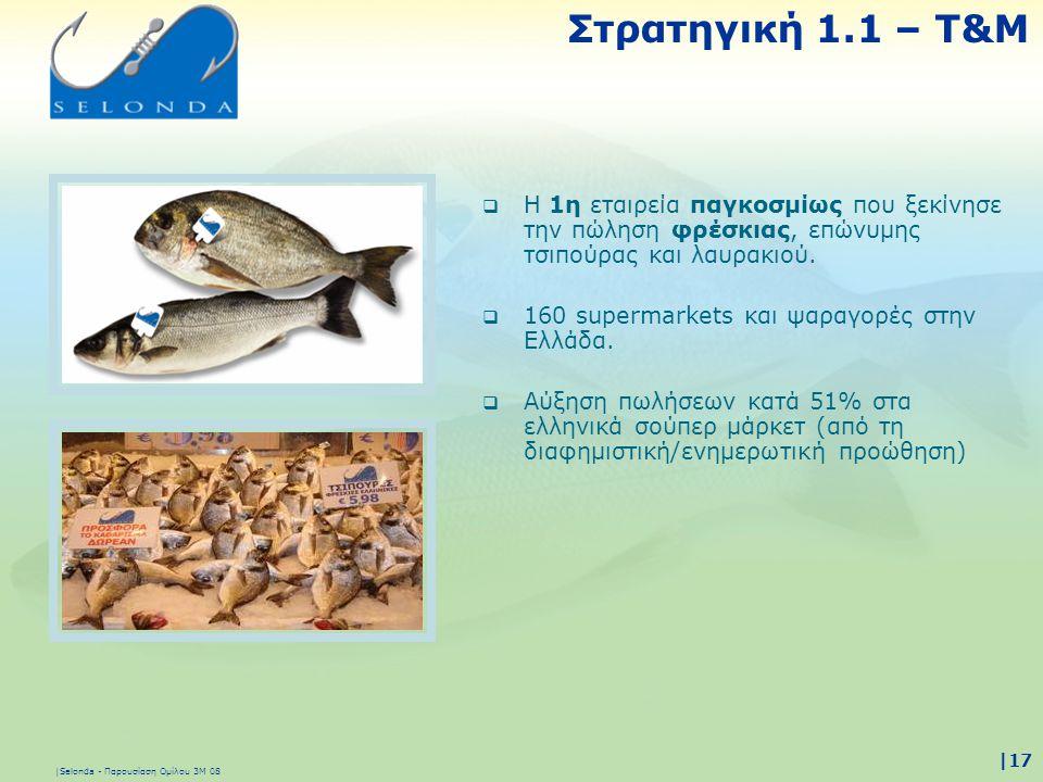 |Selonda - Παρουσίαση Ομίλου 3Μ 08 |17  Η 1η εταιρεία παγκοσμίως που ξεκίνησε την πώληση φρέσκιας, επώνυμης τσιπούρας και λαυρακιού.  160 supermarke