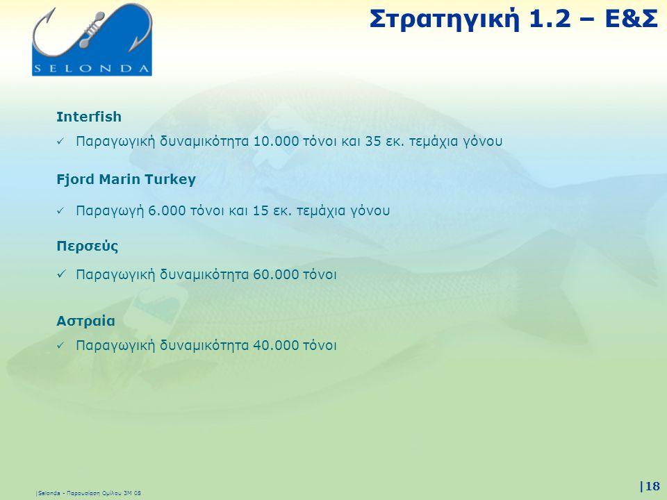|Selonda - Παρουσίαση Ομίλου 3Μ 08 |18 Στρατηγική 1.2 – Ε&Σ Fjord Marin Turkey  Παραγωγή 6.000 τόνοι και 15 εκ. τεμάχια γόνου Αστραία  Παραγωγική δυ