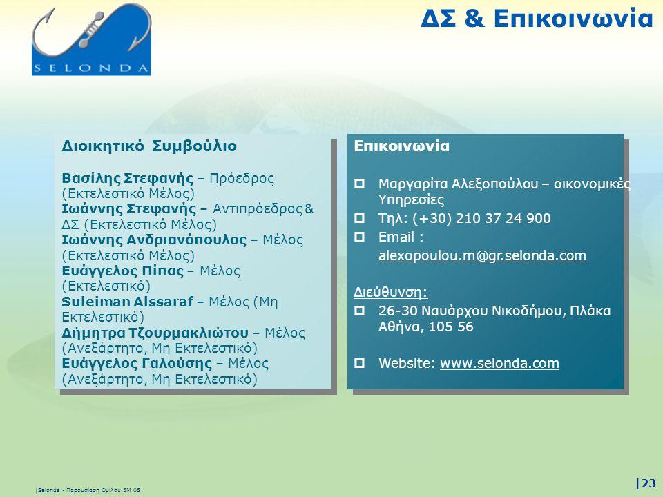 |Selonda - Παρουσίαση Ομίλου 3Μ 08 |23 Επικοινωνία  Μαργαρίτα Αλεξοπούλου – οικονομικές Υπηρεσίες  Τηλ: (+30) 210 37 24 900  Email : alexopoulou.m@