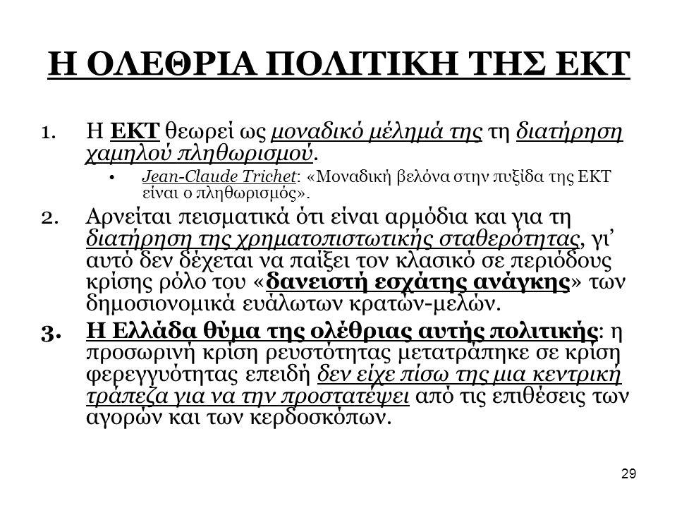 29 Η ΟΛΕΘΡΙΑ ΠΟΛΙΤΙΚΗ ΤΗΣ ΕΚΤ 1.Η ΕΚΤ θεωρεί ως μοναδικό μέλημά της τη διατήρηση χαμηλού πληθωρισμού. •Jean-Claude Trichet: «Μοναδική βελόνα στην πυξί