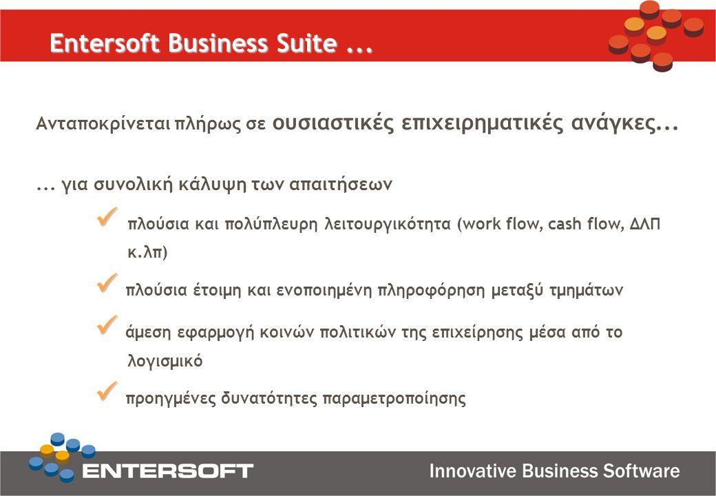 Ανταποκρίνεται πλήρως σε ουσιαστικές επιχειρηματικές ανάγκες... Entersoft Business Suite...... για συνολική κάλυψη των απαιτήσεων   πλούσια και πολύ