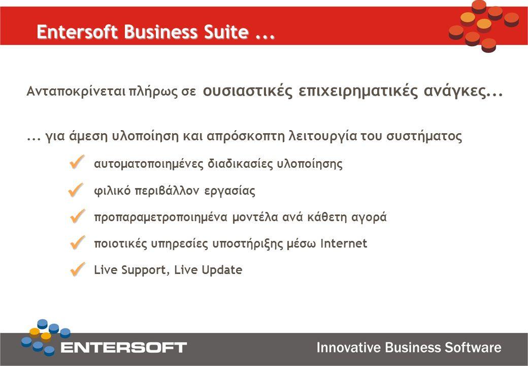 Entersoft Business Suite... Ανταποκρίνεται πλήρως σε ουσιαστικές επιχειρηματικές ανάγκες...... για άμεση υλοποίηση και απρόσκοπτη λειτουργία του συστή