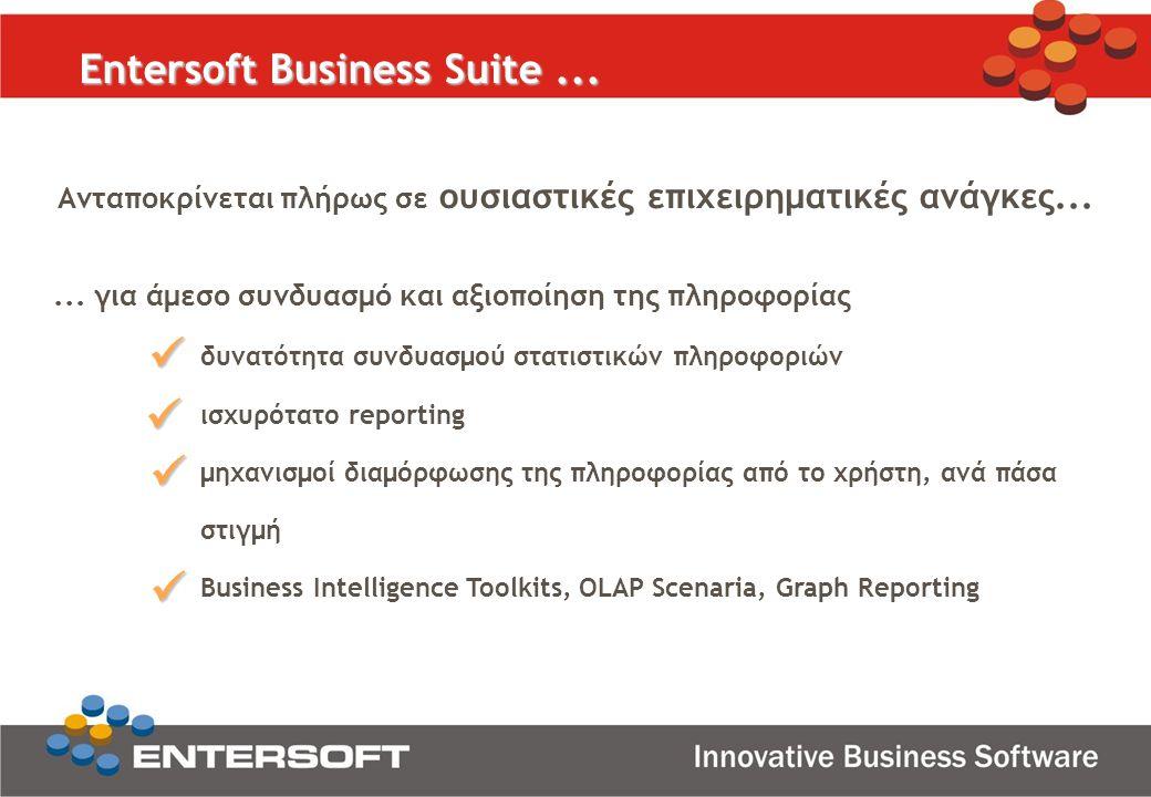 Ανταποκρίνεται πλήρως σε ουσιαστικές επιχειρηματικές ανάγκες... Entersoft Business Suite...... για άμεσο συνδυασμό και αξιοποίηση της πληροφορίας δυνα