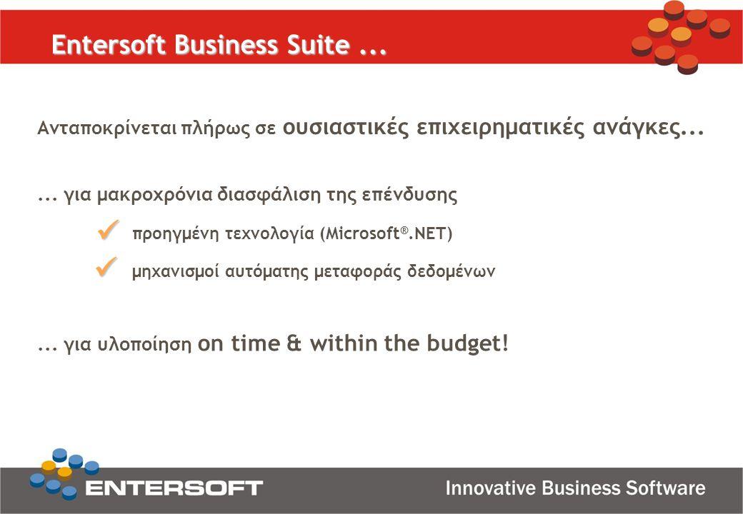 ... για υλοποίηση on time & within the budget!... για μακροχρόνια διασφάλιση της επένδυσης προηγμένη τεχνολογία (Microsoft ®.NET) μηχανισμοί αυτόματης