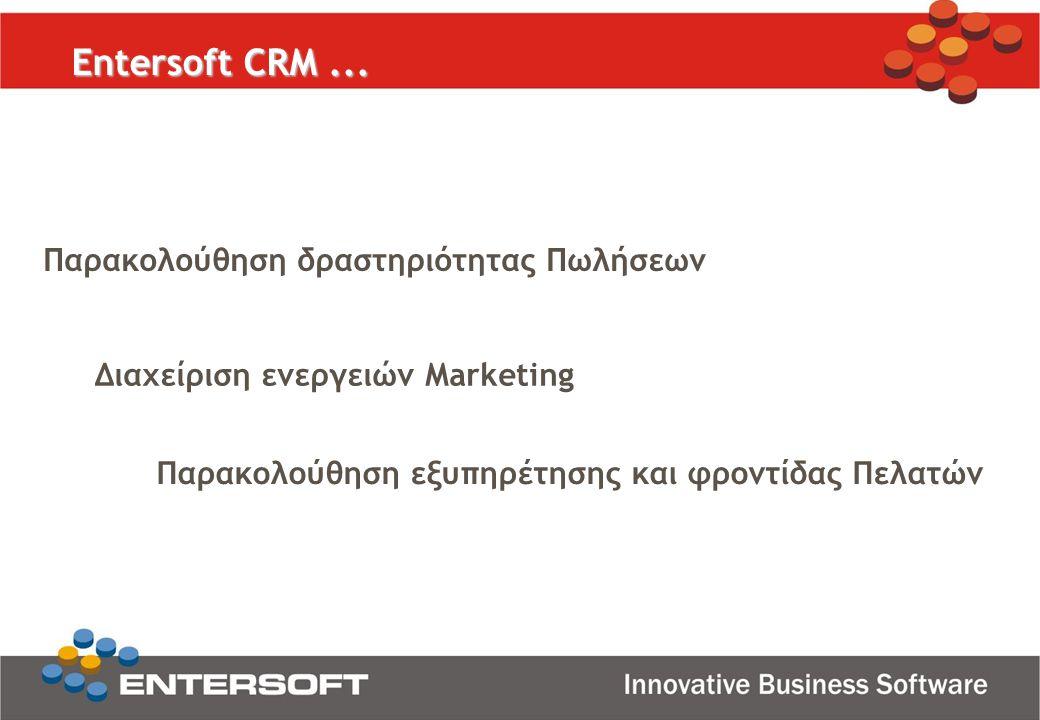 Entersoft CRM... Παρακολούθηση δραστηριότητας Πωλήσεων Διαχείριση ενεργειών Marketing Παρακολούθηση εξυπηρέτησης και φροντίδας Πελατών