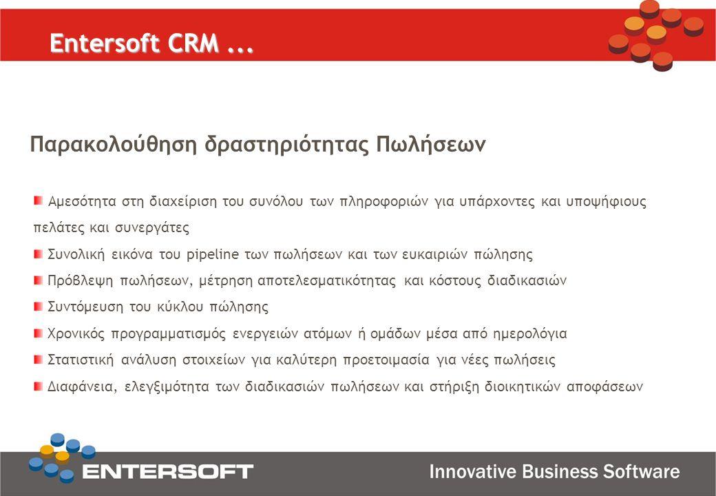 Entersoft CRM... Παρακολούθηση δραστηριότητας Πωλήσεων Αμεσότητα στη διαχείριση του συνόλου των πληροφοριών για υπάρχοντες και υποψήφιους πελάτες και