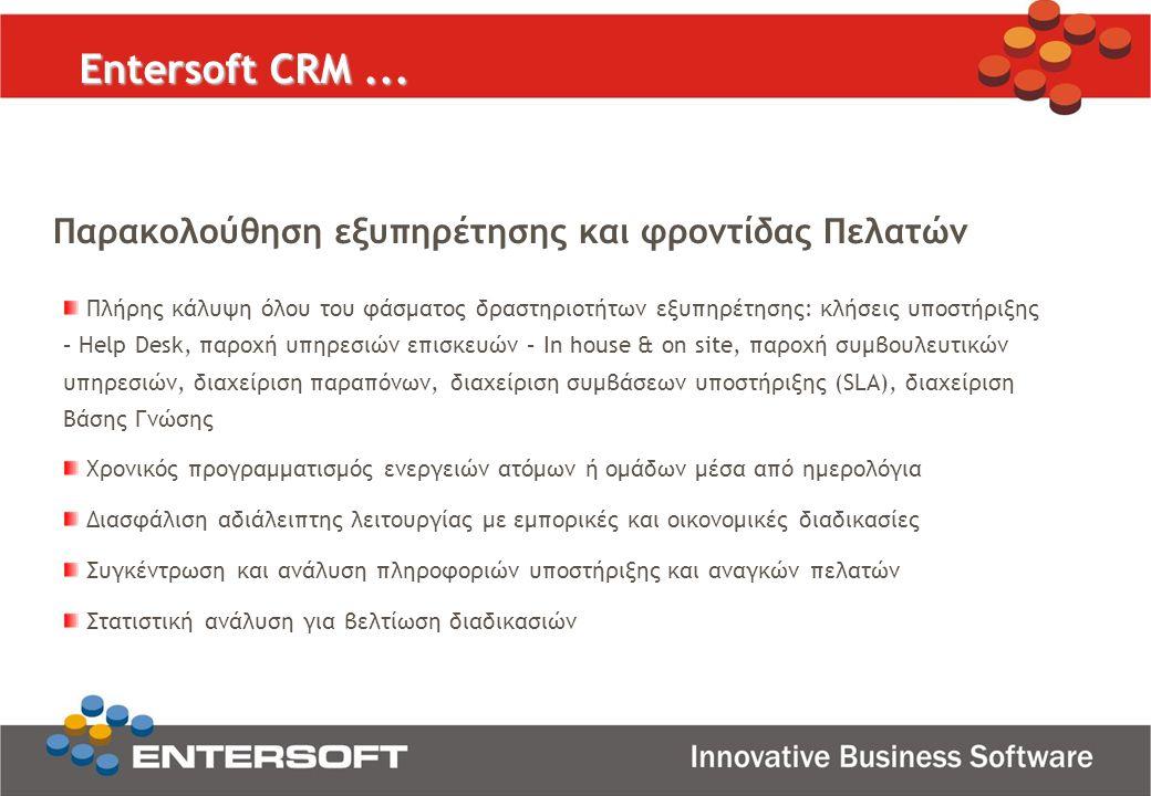 Entersoft CRM... Παρακολούθηση εξυπηρέτησης και φροντίδας Πελατών Πλήρης κάλυψη όλου του φάσματος δραστηριοτήτων εξυπηρέτησης: κλήσεις υποστήριξης – H