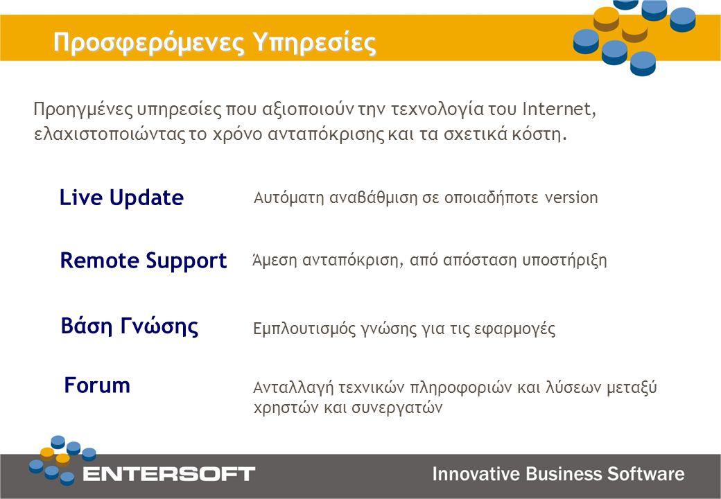 Προσφερόμενες Υπηρεσίες Live Update Βάση Γνώσης Remote Support Forum Προηγμένες υπηρεσίες που αξιοποιούν την τεχνολογία του Internet, ελαχιστοποιώντας