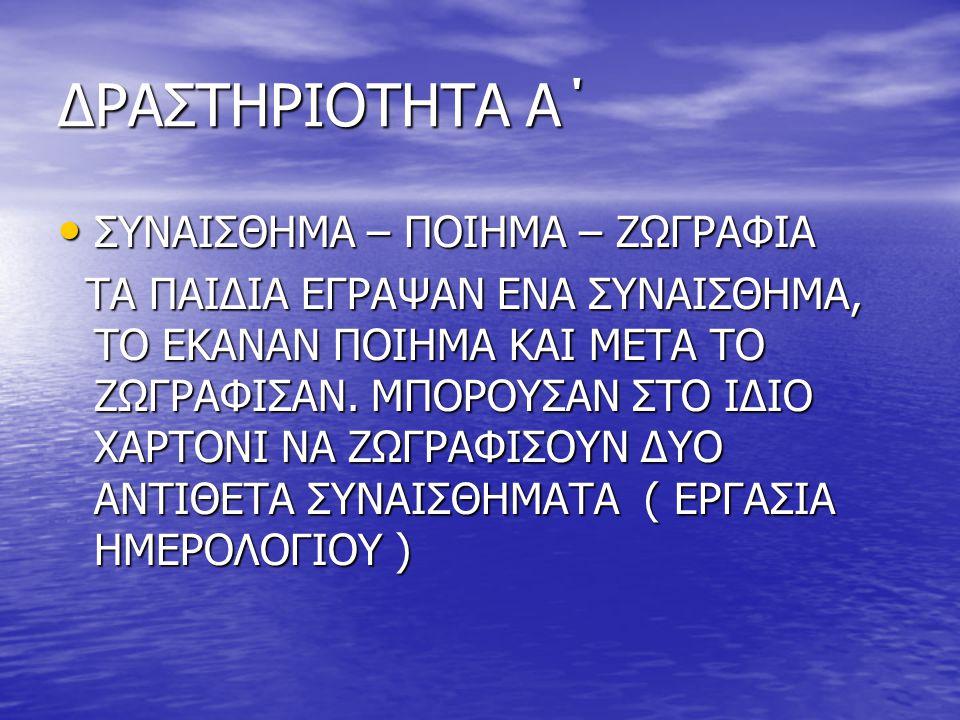 ΔΡΑΣΤΗΡΙΟΤΗΤΑ Α΄ • ΣΥΝΑΙΣΘΗΜΑ – ΠΟΙΗΜΑ – ΖΩΓΡΑΦΙΑ ΤΑ ΠΑΙΔΙΑ ΕΓΡΑΨΑΝ ΕΝΑ ΣΥΝΑΙΣΘΗΜΑ, ΤΟ ΕΚΑΝΑΝ ΠΟΙΗΜΑ ΚΑΙ ΜΕΤΑ ΤΟ ΖΩΓΡΑΦΙΣΑΝ. ΜΠΟΡΟΥΣΑΝ ΣΤΟ ΙΔΙΟ ΧΑΡΤΟΝ