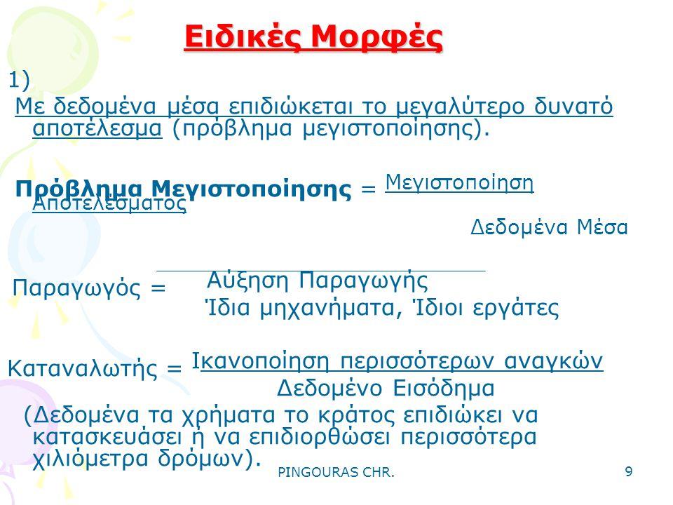 PINGOURAS CHR. 8 Οικονομική αρχή ή Οικονομικό αξίωμα •Κάθε οικονομική ενέργεια ή δραστηριότητα του ανθρώπου πρέπει να αποσκοπεί στην επιδίωξη του μεγα