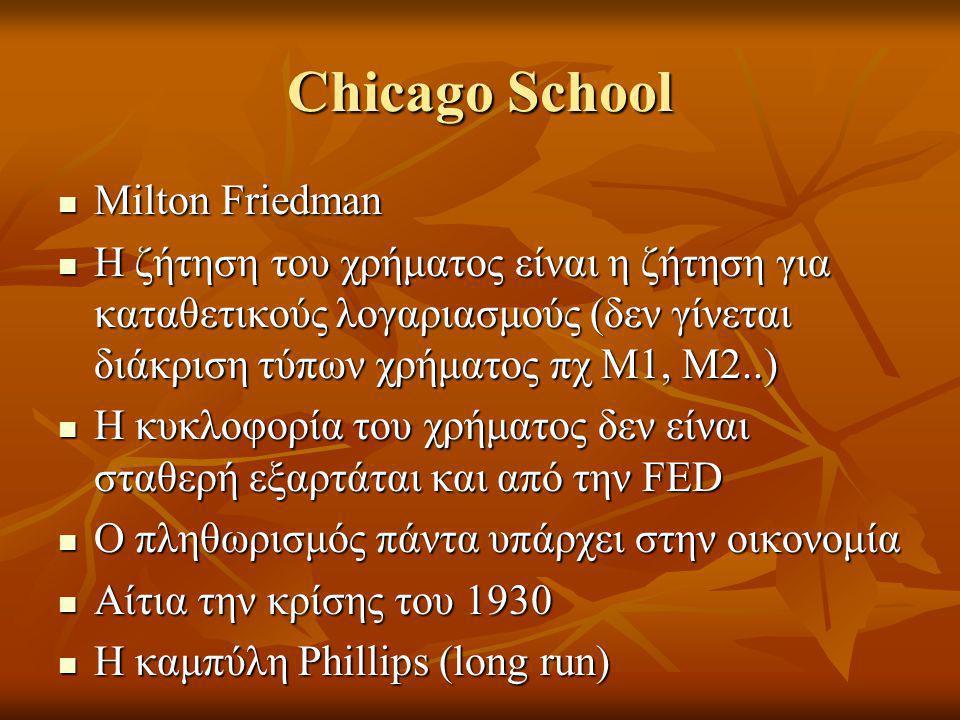 Chicago School  Milton Friedman  Η ζήτηση του χρήματος είναι η ζήτηση για καταθετικούς λογαριασμούς (δεν γίνεται διάκριση τύπων χρήματος πχ Μ1, Μ2..)  Η κυκλοφορία του χρήματος δεν είναι σταθερή εξαρτάται και από την FED  Ο πληθωρισμός πάντα υπάρχει στην οικονομία  Αίτια την κρίσης του 1930  Η καμπύλη Phillips (long run)