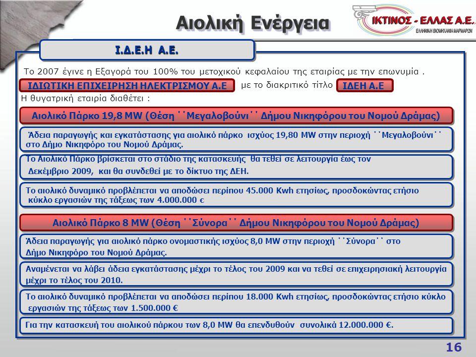 16 Αιολική Ενέργεια Αιολική Ενέργεια Το 2007 έγινε η Εξαγορά του 100% του μετοχικού κεφαλαίου της εταιρίας με την επωνυμία. με το διακριτικό τίτλο Η θ
