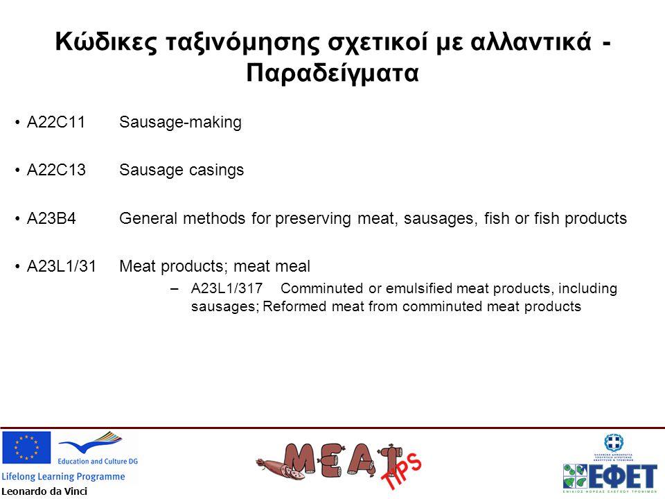 Leonardo da Vinci Κώδικες ταξινόμησης σχετικοί με αλλαντικά - Παραδείγματα •A22C11 Sausage-making •A22C13 Sausage casings •A23B4 General methods for p