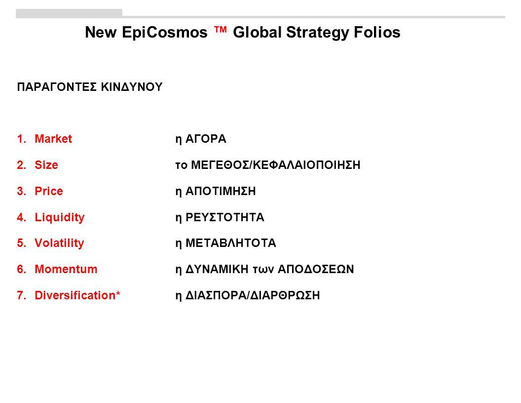 New EpiCosmos ™ Global Strategy Folios ΠΑΡΑΓΟΝΤΕΣ ΚΙΝΔΥΝΟΥ 1.Marketη ΑΓΟΡΑ 2.Sizeτο ΜΕΓΕΘΟΣ/ΚΕΦΑΛΑΙΟΠΟΙΗΣΗ 3.Priceη ΑΠΟΤΙΜΗΣΗ 4.Liquidityη ΡΕΥΣΤΟΤΗΤΑ