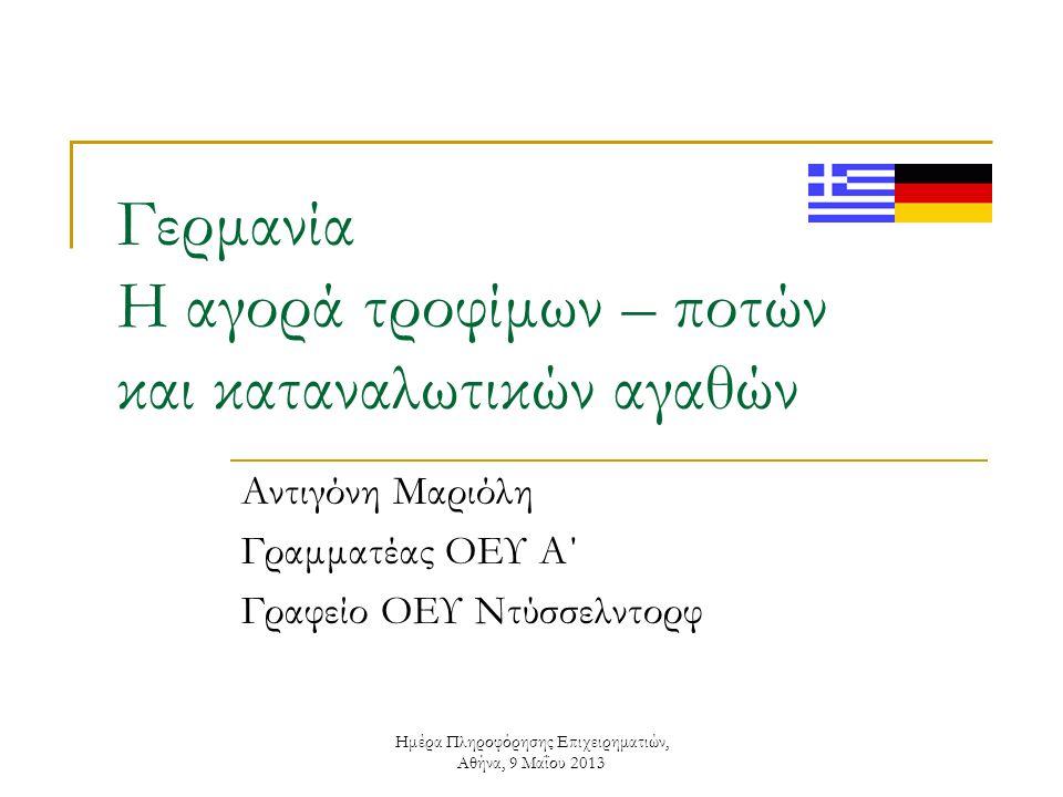 Ημέρα Πληροφόρησης Επιχειρηματιών, Αθήνα, 9 Μαΐου 2013 Γερμανική αγορά τροφίμων – ποτών: η δυσκολότερη αγορά στον κόσμο ; Πλεονεκτήματα  πληθυσμός  εισόδημα  εισαγωγές Αδυναμίες  κορεσμόςκορεσμός  κουλτούρακουλτούρα  δομή λιανεμπορίουδομή λιανεμπορίου  τιμή Ευκαιρίες  διατροφικές συνήθειες  εκμάθηση Απειλές  δημογραφία  τάσεις καθετοποίησης Νέο κανάλι διανομής: Διαδίκτυο