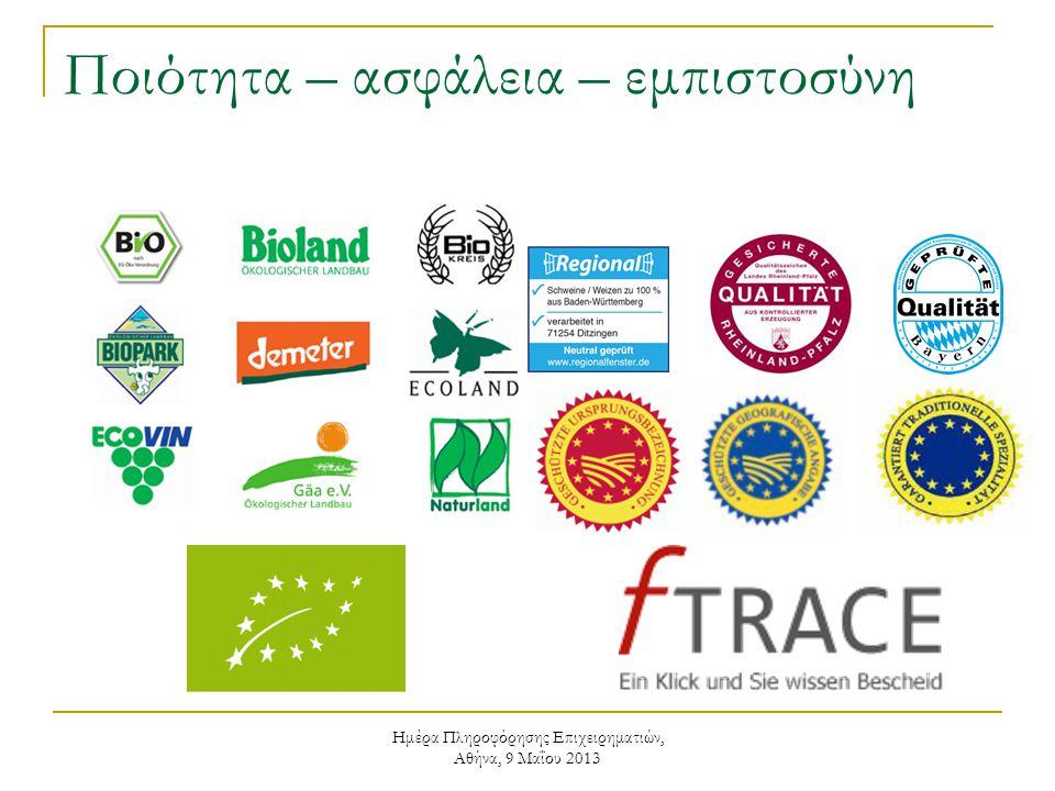 Ημέρα Πληροφόρησης Επιχειρηματιών, Αθήνα, 9 Μαΐου 2013 Ποιότητα – ασφάλεια – εμπιστοσύνη