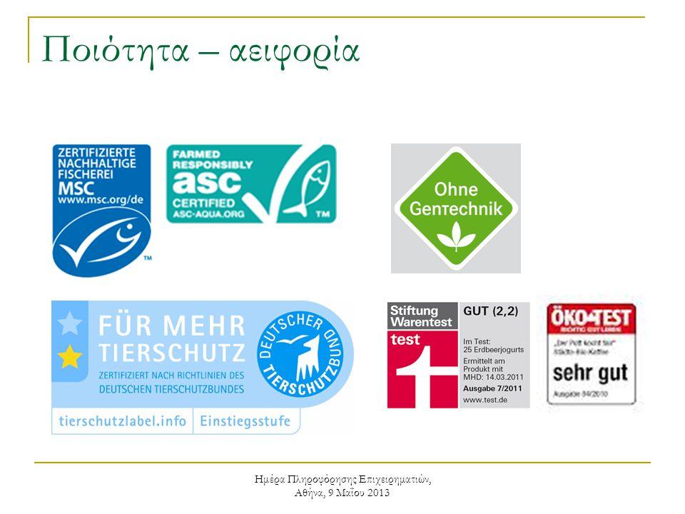 Ημέρα Πληροφόρησης Επιχειρηματιών, Αθήνα, 9 Μαΐου 2013 Ποιότητα – αειφορία