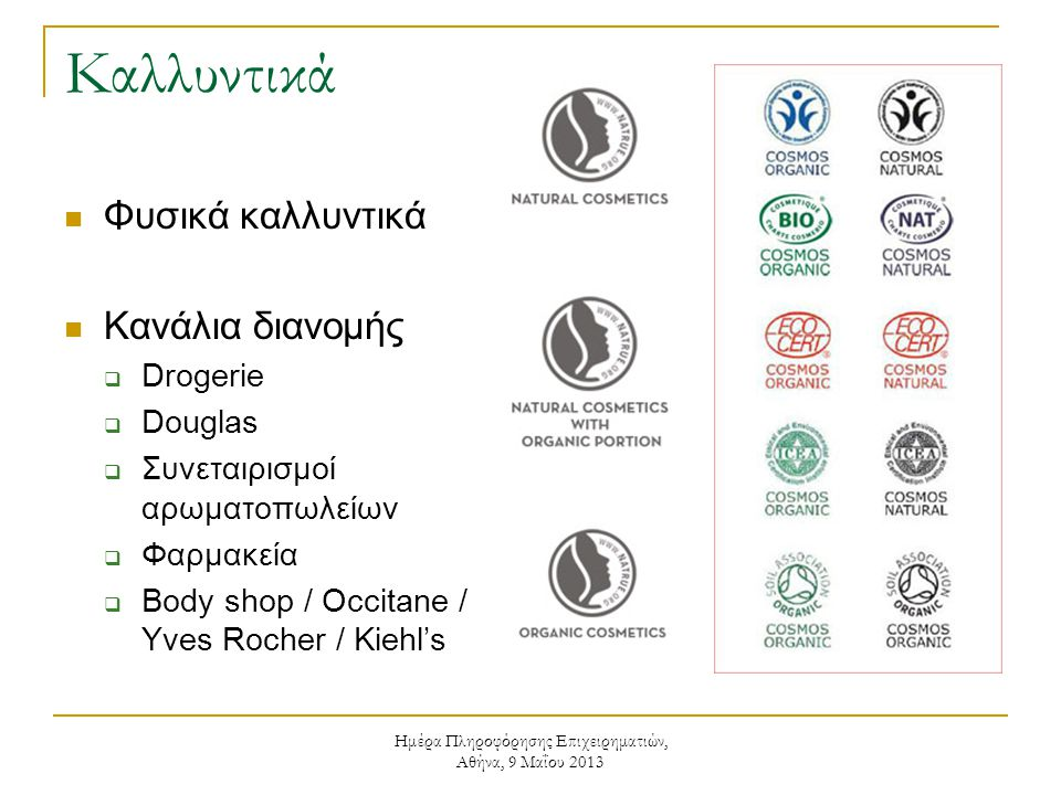 Ημέρα Πληροφόρησης Επιχειρηματιών, Αθήνα, 9 Μαΐου 2013 Καλλυντικά  Φυσικά καλλυντικά  Κανάλια διανομής  Drogerie  Douglas  Συνεταιρισμοί αρωματοπωλείων  Φαρμακεία  Body shop / Occitane / Yves Rocher / Kiehl's