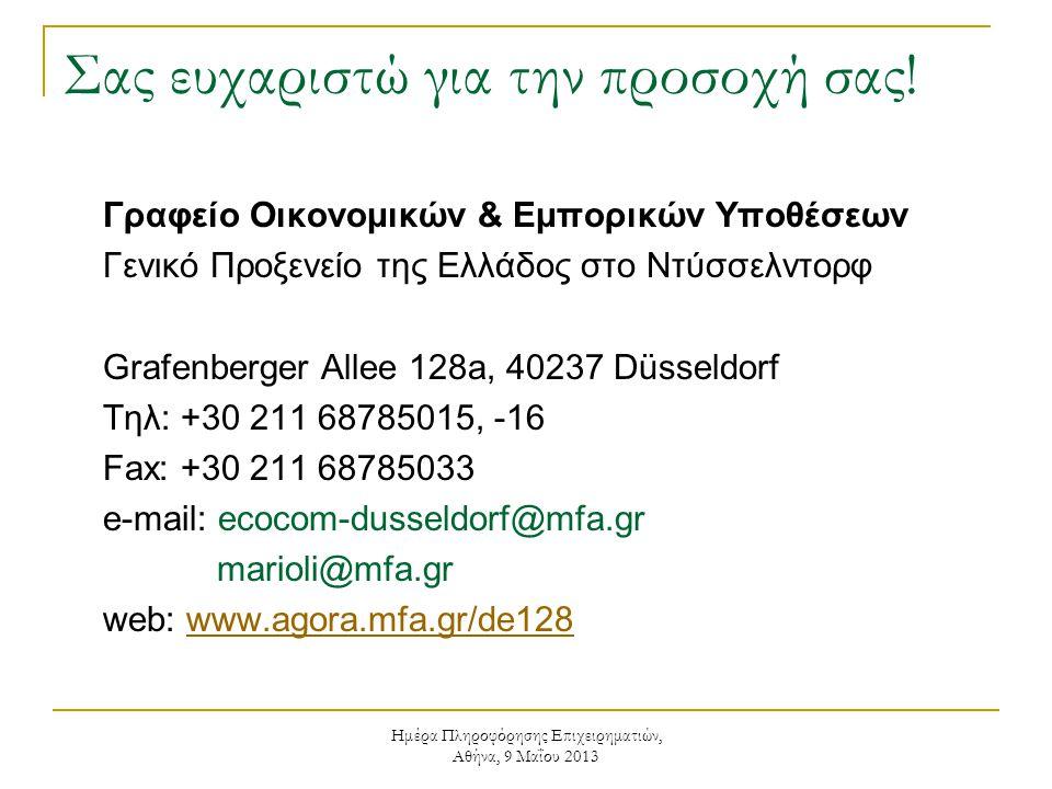 Ημέρα Πληροφόρησης Επιχειρηματιών, Αθήνα, 9 Μαΐου 2013 Σας ευχαριστώ για την προσοχή σας! Γραφείο Οικονομικών & Εμπορικών Υποθέσεων Γενικό Προξενείο τ