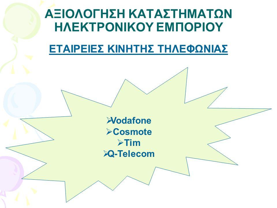 ΑΞΙΟΛΟΓΗΣΗ ΚΑΤΑΣΤΗΜΑΤΩΝ ΗΛΕΚΤΡΟΝΙΚΟΥ ΕΜΠΟΡΙΟΥ ΕΤΑΙΡΕΙΕΣ ΚΙΝΗΤΗΣ ΤΗΛΕΦΩΝΙΑΣ  Vodafone  Cosmote  Tim  Q-Telecom