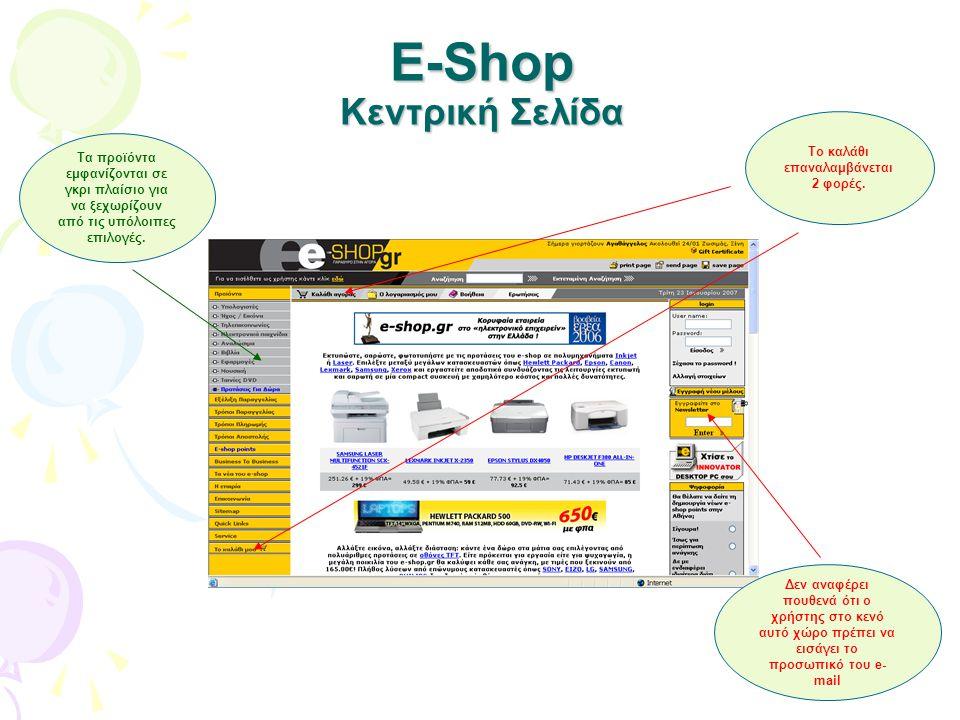 E-Shop Κεντρική Σελίδα Τα προϊόντα εμφανίζονται σε γκρι πλαίσιο για να ξεχωρίζουν από τις υπόλοιπες επιλογές. Το καλάθι επαναλαμβάνεται 2 φορές. Δεν α