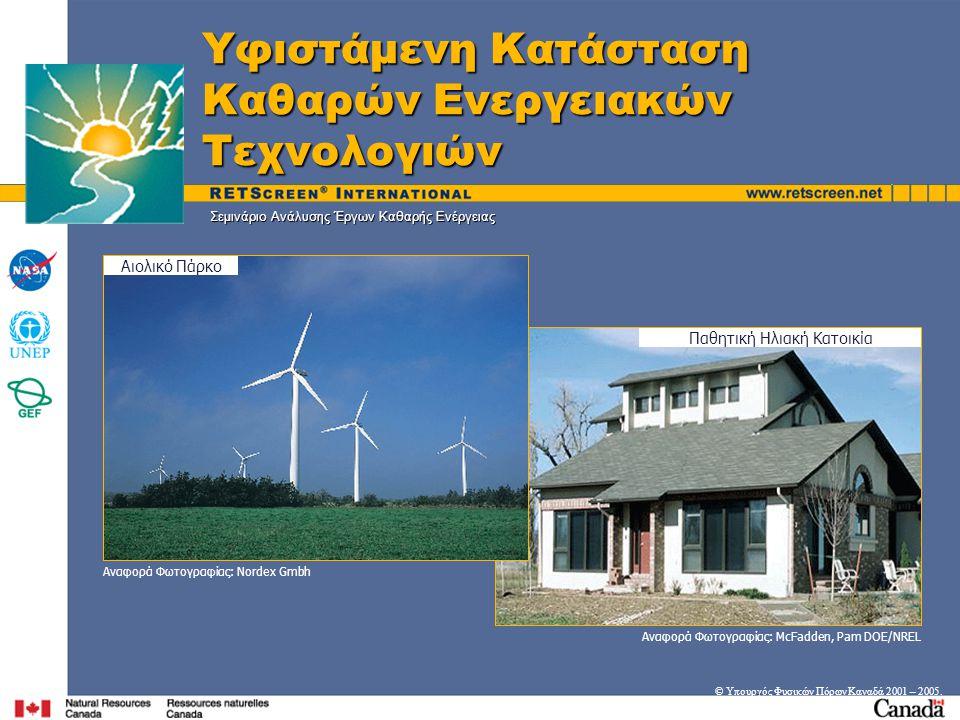 Ηλεκτροπαραγωγή από απορριπτόμενη ξυλεία Στόχοι • Ενημέρωση σχετικά με τις ΑΠΕ (RETs) και μέτρα ενεργειακής απόδοσης  Αγορές  Τυπικές Εφαρμογές Φωτοβολταϊκά και Ηλιακή θέρμανση Νερού © Υπουργός Φυσικών Πόρων Καναδά 2001 – 2005.