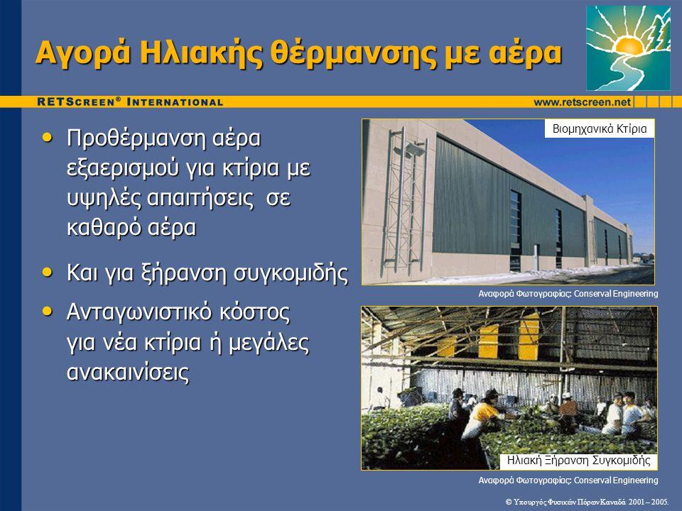 • Προθέρμανση αέρα εξαερισμού για κτίρια με υψηλές απαιτήσεις σε καθαρό αέρα • Και για ξήρανση συγκομιδής • Ανταγωνιστικό κόστος για νέα κτίρια ή μεγά