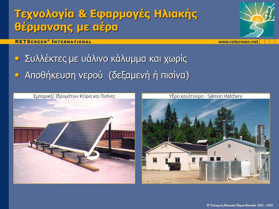 Τεχνολογία & Εφαρμογές Ηλιακής θέρμανσης με αέρα • Συλλέκτες με υάλινο κάλυμμα και χωρίς • Αποθήκευση νερού (δεξαμενή ή πισίνα) Εμπορικά/ Ιδρυμάτων Κτ