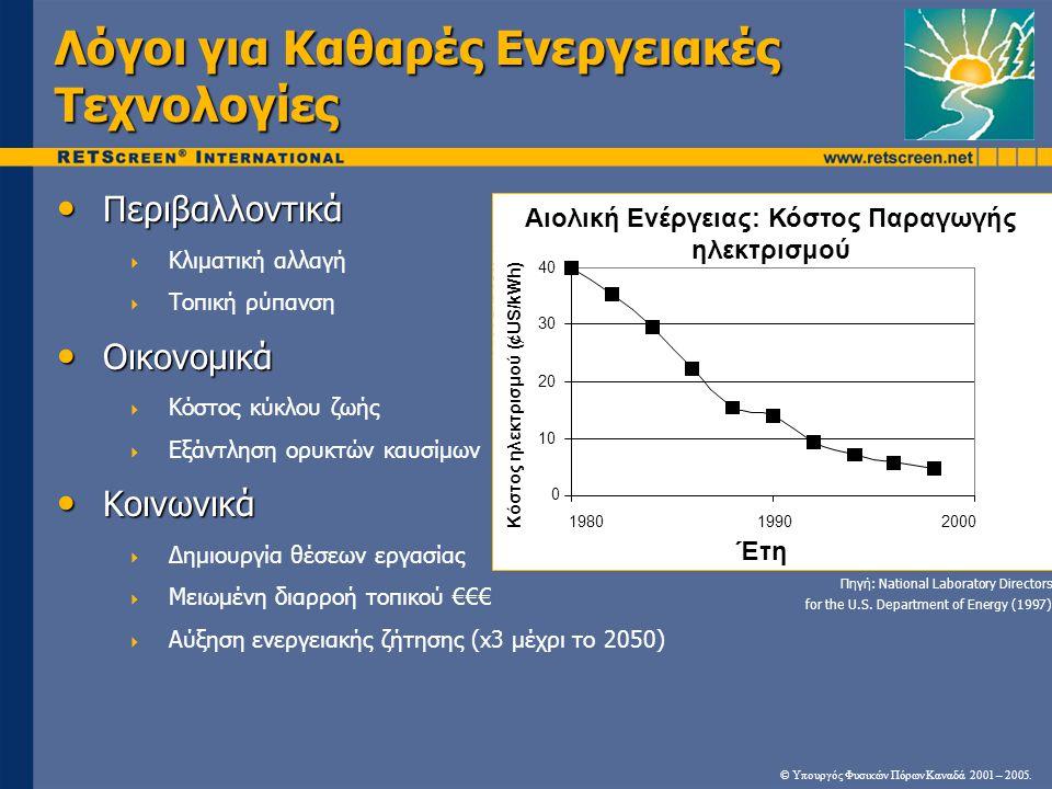 Κοινά Χαρακτηριστικά Καθαρών Ενεργειακών Τεχνολογιών • Σε σχέση με τις συμβατικές τεχνολογίες:  Χαρακτηριστικά υψηλότερα αρχικά κόστη  Γενικά χαμηλότερα λειτουργικά κόστη  Περιβαλλοντικά «καθαρότερες»  Συχνά οικονομικά αποδοτικές βάσει ανάλυσης κόστους κύκλου ζωής © Υπουργός Φυσικών Πόρων Καναδά 2001 – 2005.