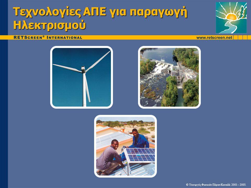 Τεχνολογία Αιολικής Ενέργειας & Εφαρμογές • Απαιτούνται ευνοϊκοί άνεμοι  (>4 m/s στα 10 m)  Παραλιακές περιοχές, στρογγυλεμένες κορυφογραμμές, ανοιχτές πεδιάδες • Εφαρμογές: Απομονωμένο Δίκτυο Κεντρικό Δίκτυο Southwest Windpower, NREL PIXPhil Owens, Nunavut PowerWarren Gretz, NREL PIX © Υπουργός Φυσικών Πόρων Καναδά 2001 – 2005.