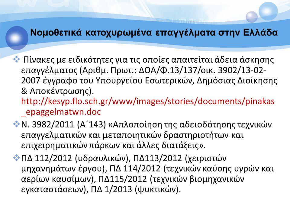  Πίνακες με ειδικότητες για τις οποίες απαιτείται άδεια άσκησης επαγγέλματος (Αριθμ. Πρωτ.: ΔΟΑ/Φ.13/137/οικ. 3902/13-02- 2007 έγγραφο του Υπουργείου