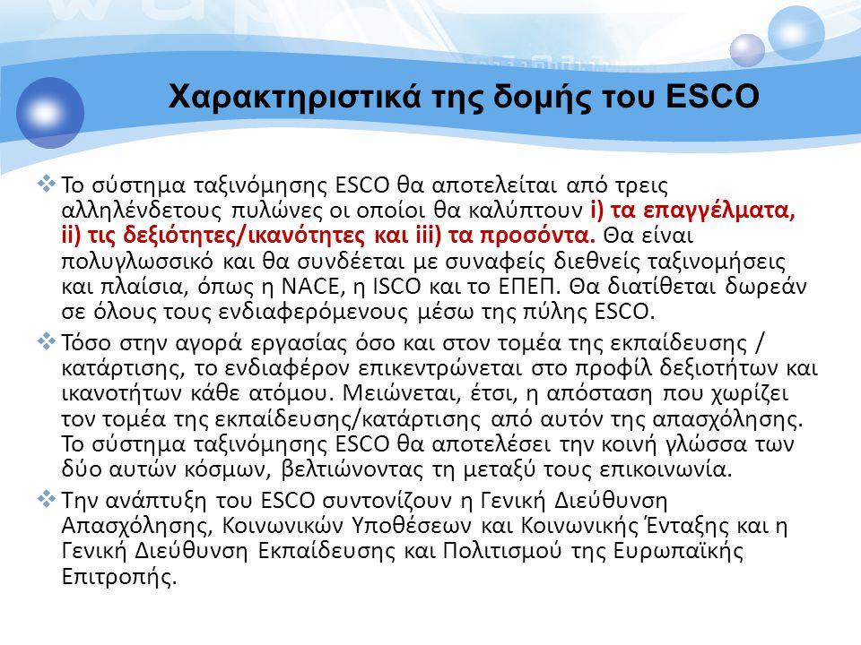  Το σύστημα ταξινόμησης ESCO θα αποτελείται από τρεις αλληλένδετους πυλώνες οι οποίοι θα καλύπτουν i) τα επαγγέλματα, ii) τις δεξιότητες/ικανότητες κ