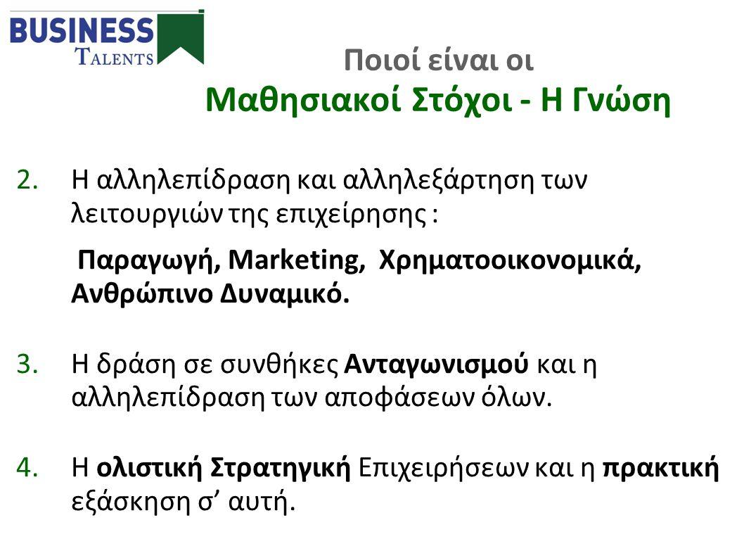 2.Η αλληλεπίδραση και αλληλεξάρτηση των λειτουργιών της επιχείρησης : Παραγωγή, Marketing, Χρηματοοικονομικά, Ανθρώπινο Δυναμικό. 3.Η δράση σε συνθήκε