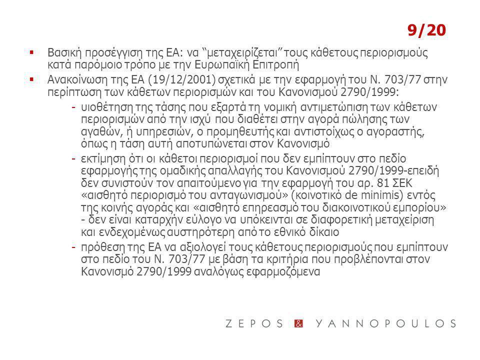 9/20  Βασική προσέγγιση της ΕΑ: να μεταχειρίζεται τους κάθετους περιορισμούς κατά παρόμοιο τρόπο με την Ευρωπαϊκή Επιτροπή  Ανακοίνωση της ΕΑ (19/12/2001) σχετικά με την εφαρμογή του Ν.