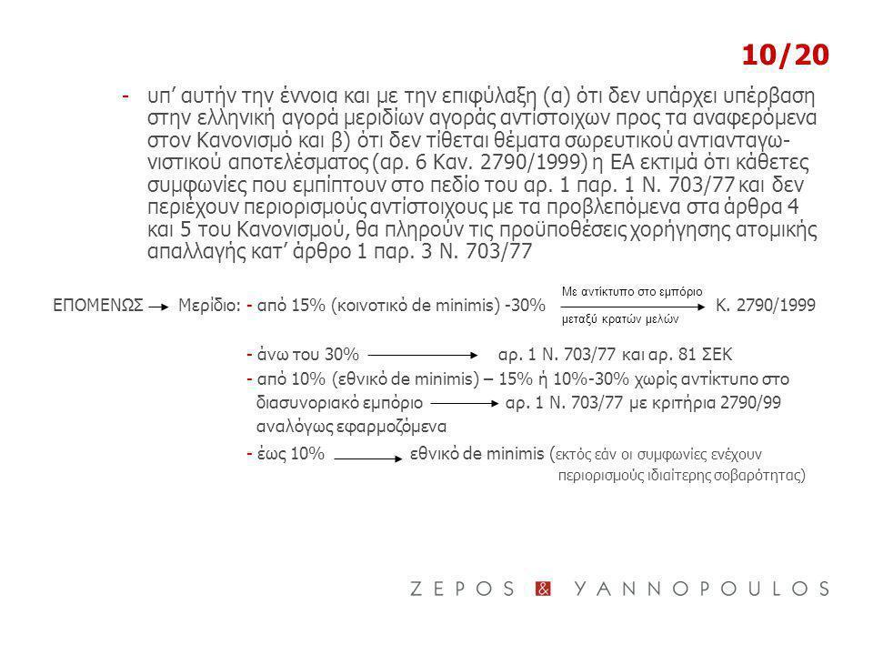 10/20 -υπ' αυτήν την έννοια και με την επιφύλαξη (α) ότι δεν υπάρχει υπέρβαση στην ελληνική αγορά μεριδίων αγοράς αντίστοιχων προς τα αναφερόμενα στον Κανονισμό και β) ότι δεν τίθεται θέματα σωρευτικού αντιανταγω- νιστικού αποτελέσματος (αρ.